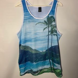 AE Active mesh graphic print tee tank muscle med